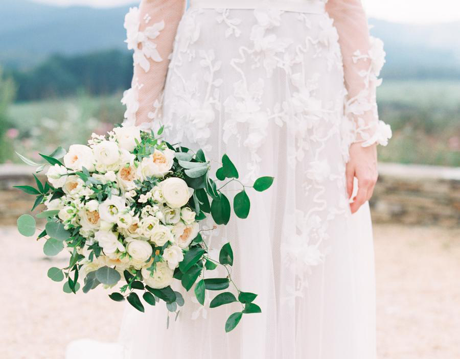 romantic bride with flowers