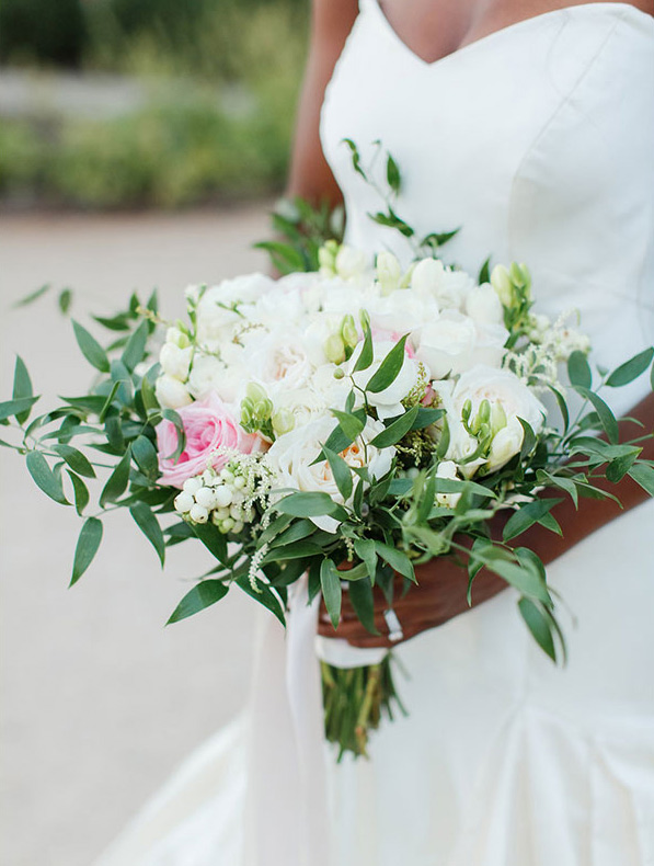 Bride and flowers at Pippin Hill